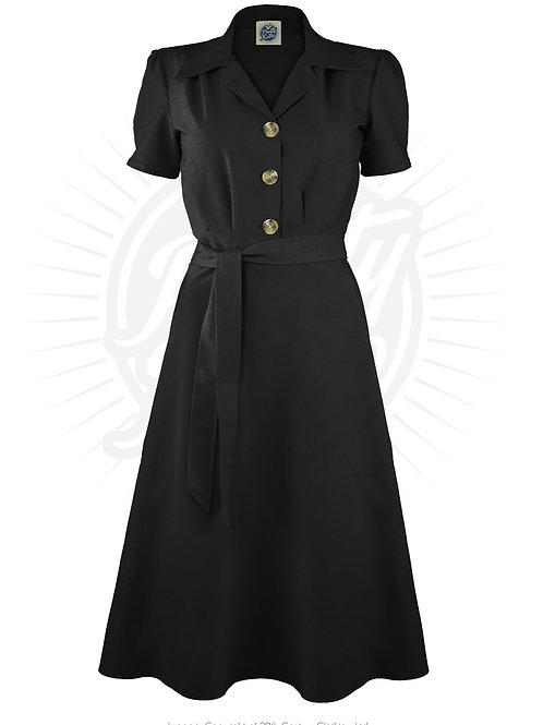 Pretty 40s Shirt Dress in Black