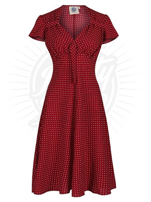 Pretty 40s Tea Dress in Wine Polka