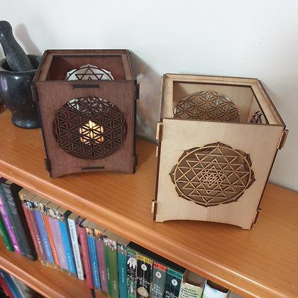 Sacred Geometry Tea Light Lantern // Laser Cut Candle Holder // Magickal Decor