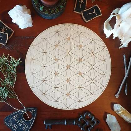 Kabbalah Seed of Life Crystal Grid // Laser Engraved Sacred Geometry Grid