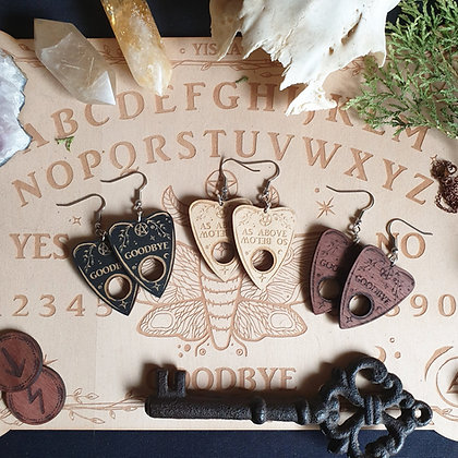 Wooden Planchette Earrings // Occult Spirit Board Witchy Gothic Earrings
