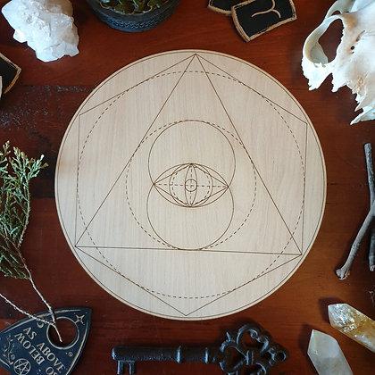Vesica Piscis Crystal Grid // Laser Engraved Sacred Geometry Grid