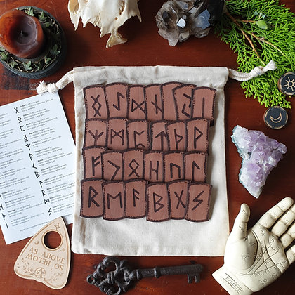 Wooden Rune Set // Laser Engraved Runes // Norse Viking Divination Set