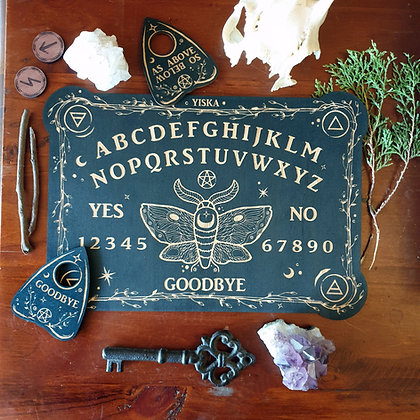 Wooden Spirit Board & Planchette Set // Laser Engraved Answers Board