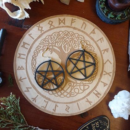 Wooden Pentacle Earrings // Pentagram Jewellery // Witchy Gothic Earrings