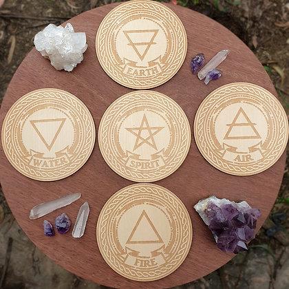 Set of 5 Element Altar Tiles // Laser Engraved Wooden Coaster Set