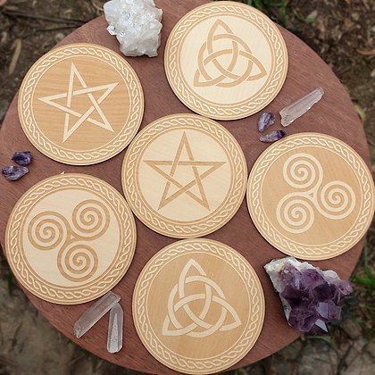 Set of 6 Witchy Coasters // Laser Engraved Wooden Coaster Set