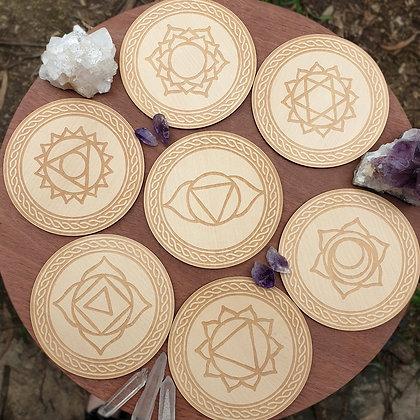 Set of 7 Chakra Tiles // Laser Engraved Wooden Coaster Set