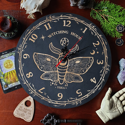 Witching Hour Wall Clock // Magickal Wooden Clock