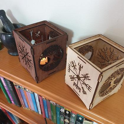 Norse Viking Tea Light Lantern // Laser Cut Candle Holder // Magickal Decor