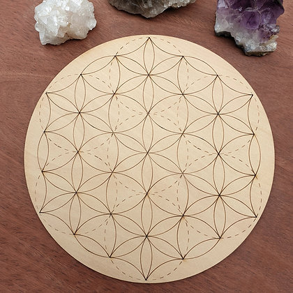 Seed of Life Crystal Grid // Laser Engraved Sacred Geometry Grid
