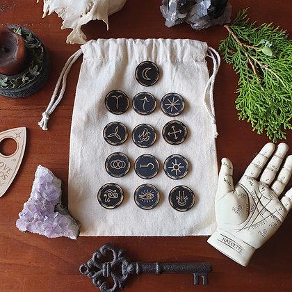 Witches' Rune Set Round Tiles