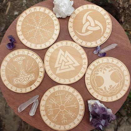Set of 6 Viking Tiles // Laser Engraved Wooden Coaster Set