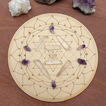 Sri Yantra Crystal Grid // Laser Engraved Sacred Geometry Grid