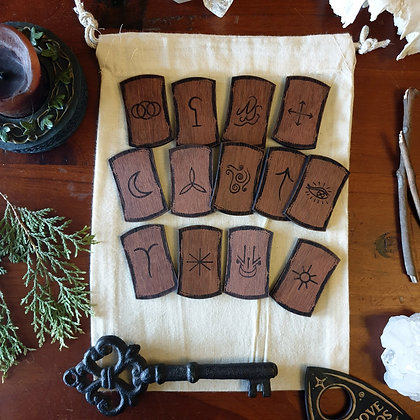 Witches' Rune Set Tiles // Laser Engraved Runes // Divination Set