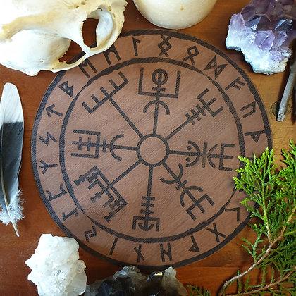 Vegvisir Altar Tile // Viking Compass Norse Tile // Magickal Decor