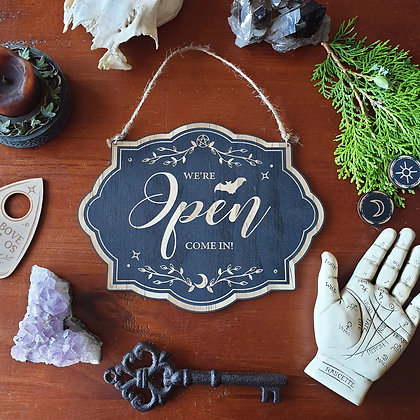 Magickal Open Closed Wood Sign // Welcome Business Sign // Witchy Decor Sign