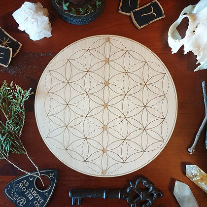 Chakra Seed of Life Crystal Grid // Laser Engraved Sacred Geometry Grid