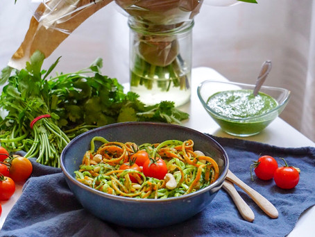 Spaghetti de courgette et pesto maisonaux noix de cajou, vegan et sans gluten
