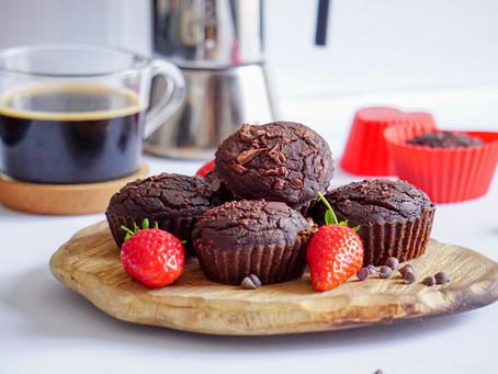 Muffins à la caroube et au café vegan et sans gluten
