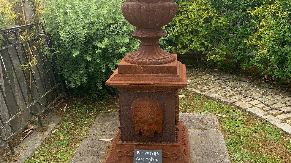 Vase Medicis sur socle en fonte
