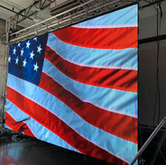 Flag on Large LED Outdoor Video Wall