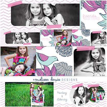 SASSY SISTERS 3x3 MINI ACCORDION ALBUM PHOTOSHOP TEMPLATE