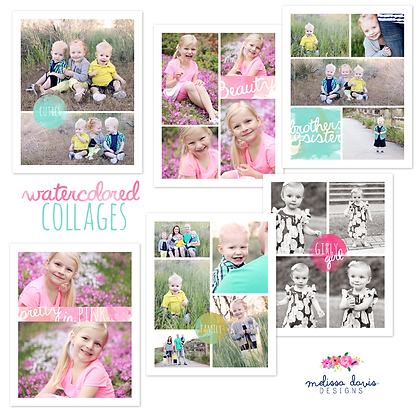 WATERCOLOR COLLAGE PHOTOSHOP TEMPLATES