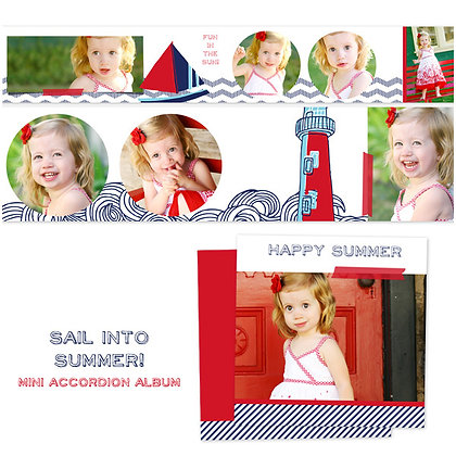 SAIL INTO SUMMER 3x3 ACCORDION ALBUM PHOTOSHOP TEMPLATE