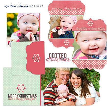 DOTTED CHRISTMAS FOLDED PHOTOSHOP TEMPLATES