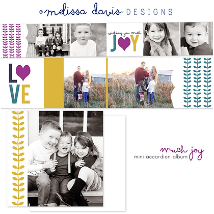 MUCH JOY HOLIDAY 3x3 ACCORDION ALBUM PHOTOSHOP TEMPLATE