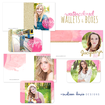 WATERCOLORED WALLET & IMAGE BOX PHOTOSHOP TEMPLATES