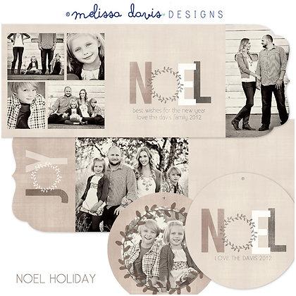 NOEL HOLIDAY FOLDED PHOTOSHOP TEMPLATES