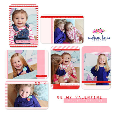 BE MY VALENTINE WALLET PHOTOSHOP TEMPLATES