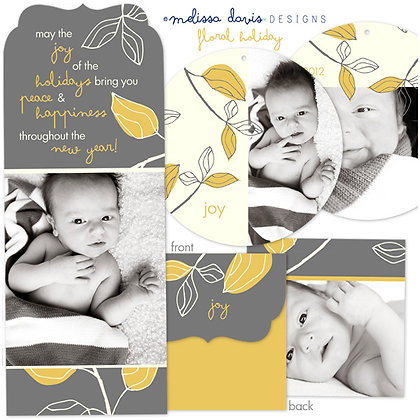 FLORAL HOLIDAY FOLDED PHOTOSHOP TEMPLATES