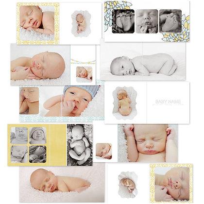 VINTAGE BABY BOY ALBUM 40 PAGE PHOTOSHOP TEMPLATES