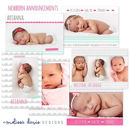 ARIANNA BIRTH ANNOUNCEMENT PHOTOSHOP TEMPLATES