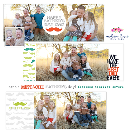 IT'S A MUSTACHE FATHER'S DAY FACEBOOK COVER PHOTOSHOP TEMPLATES