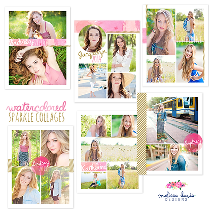 WATERCOLORED SPARKLE COLLAGE PHOTOSHOP TEMPLATES
