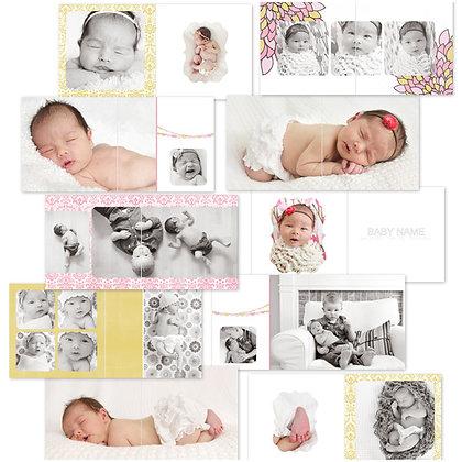 VINTAGE BABY GIRL ALBUM 40 PAGE PHOTOSHOP TEMPLATES