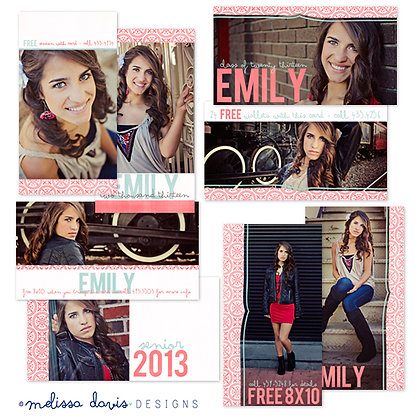 EMILY REP CARDS PHOTOSHOP TEMPLATES