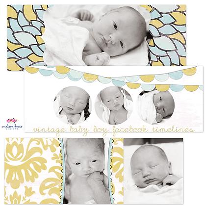 VINTAGE BABY BOY FACEBOOK COVER PHOTOSHOP TEMPLATES
