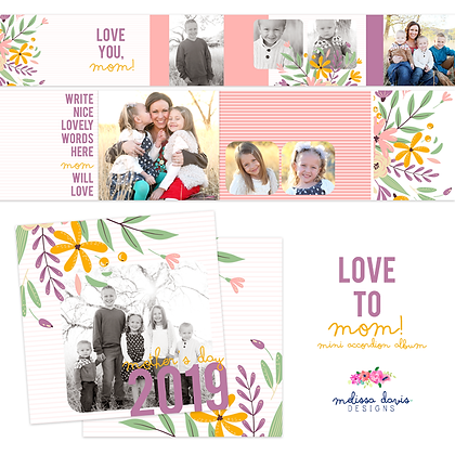 LOVE TO MOM 3x3 MINI ACCORDION ALBUM TEMPLATES