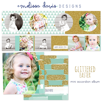 GLITTERED EASTER 3x3 ACCORDION ALBUM PHOTOSHOP TEMPLATE