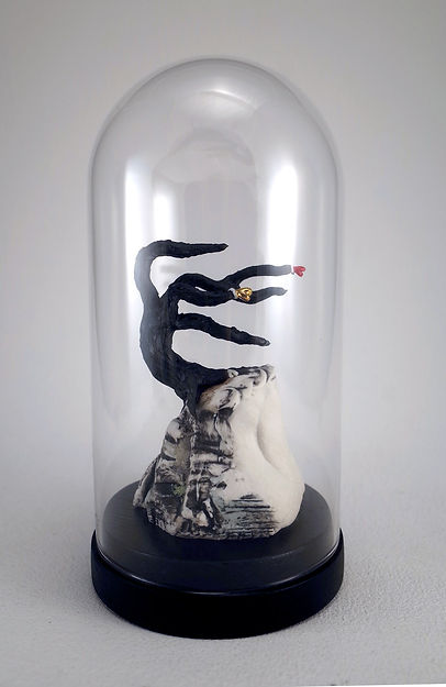 Heart, tree, porcelain sculpture