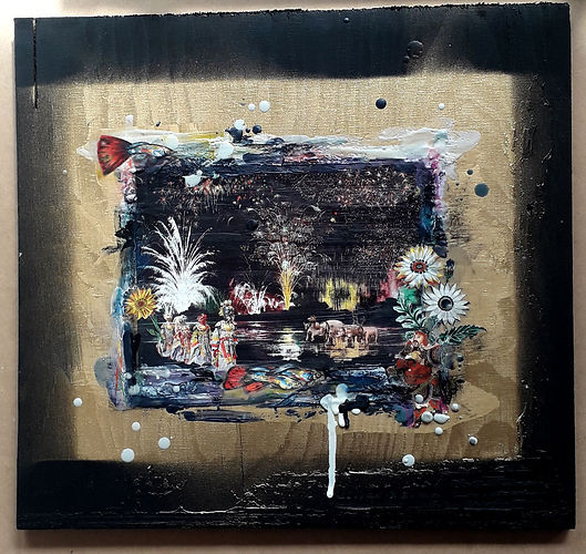 Ritual, ceremony, encaustic, collage, contemporary, icon, bev milward