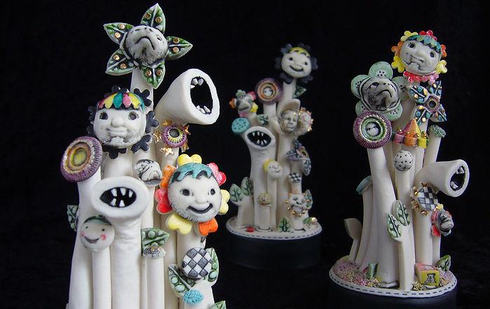 porcelain, sculpture, weebles, faces, talking heads, teeth, bev milward