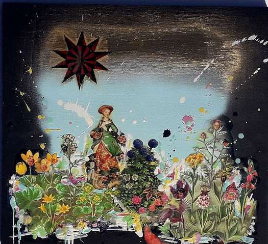 Star, tarot, encaustic, collage, flowers, wax, figures, landscape, chaos,