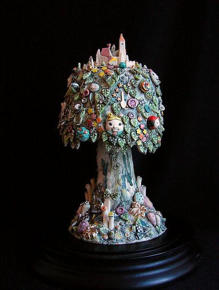 porcelain, sculpture, detail, fantasy, bev milward, weebles, tree, glass dome,