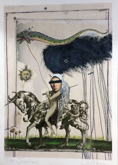 The Journey, surreal, medieval art, print, mythical, fantasy